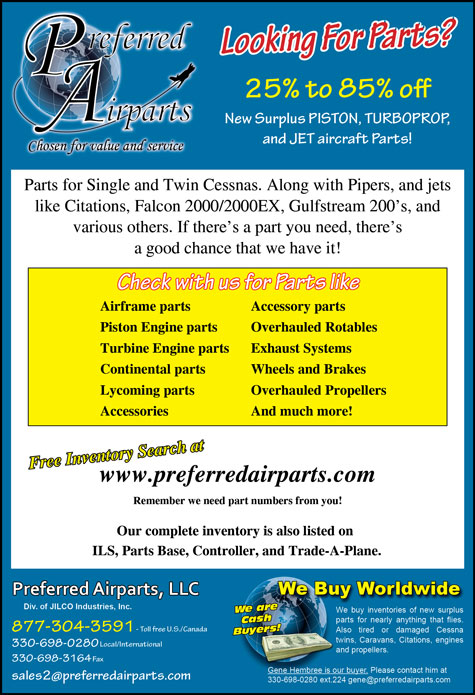 Preferred Airparts, Aircraft Parts, Supplies